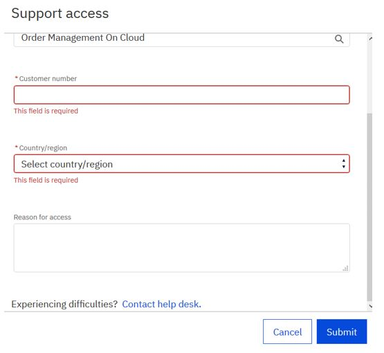 Snapshot showing the various data fields within the Support Access page