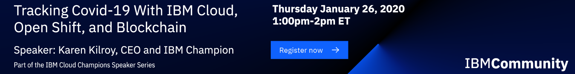 Tracking Covid-19 With IBM Cloud webinar registration banner January 26, 2021