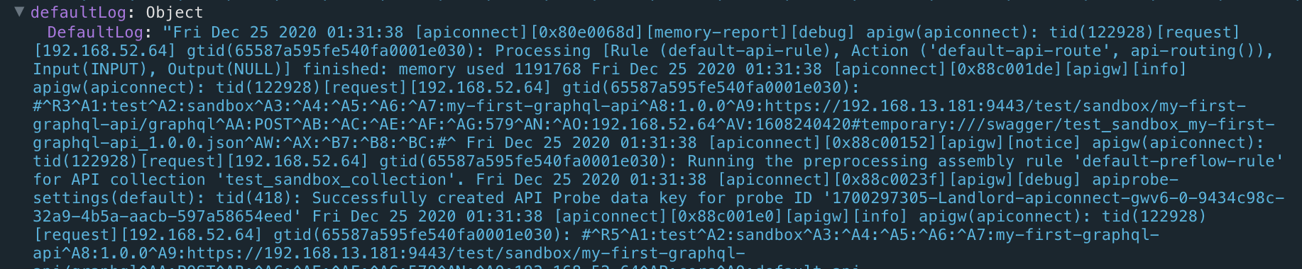 defaultLog in debug trace with the first few log messages