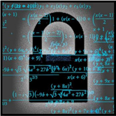 A lock with mathematical equations on a board in the background