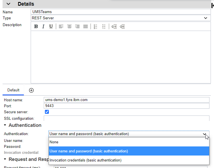 Selecting auth alias vs. userid/password