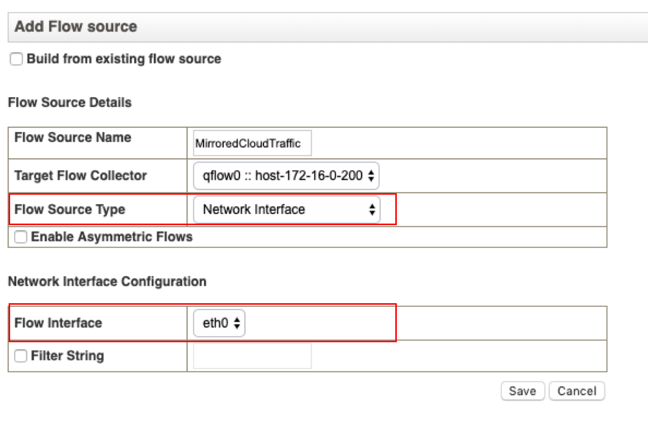 Configuring a new Network Interface flow source