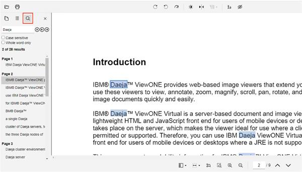 Search text in PDF documents