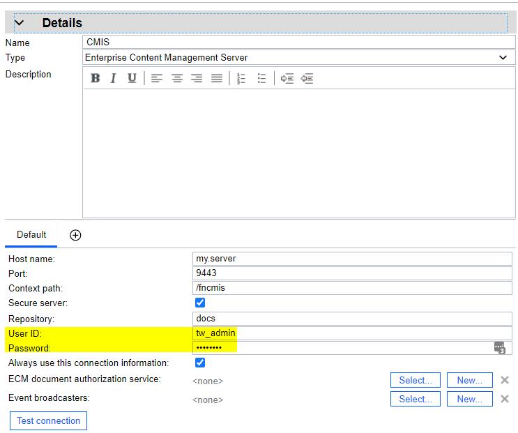 CMIS server credentials