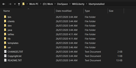 Screenshot Showing Installed folder of WAS Liberty