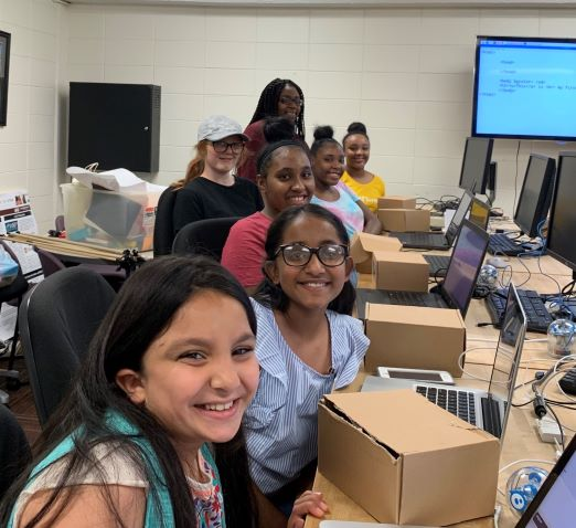 Bulldog Bytes alumnae enjoy learning advanced programming in the first Marchant's Cyber Leaders residential camp. Credit: Sarah Lee