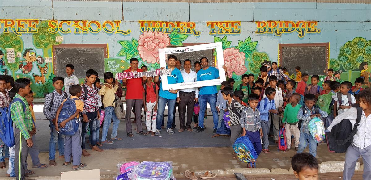 Distribution of 100 School bags at The Free School under the Bridge in New Delhi