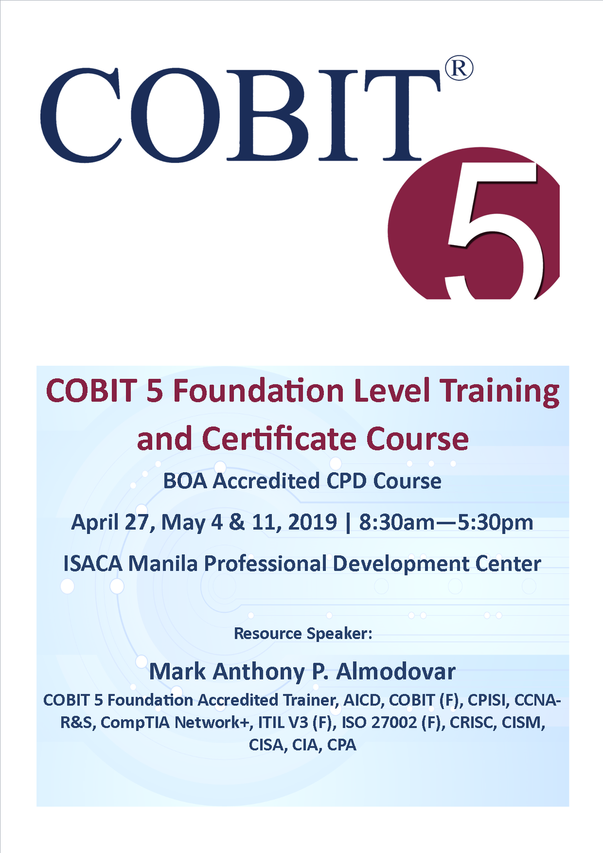 COBIT 5 Foundation Level Training and Certification Course