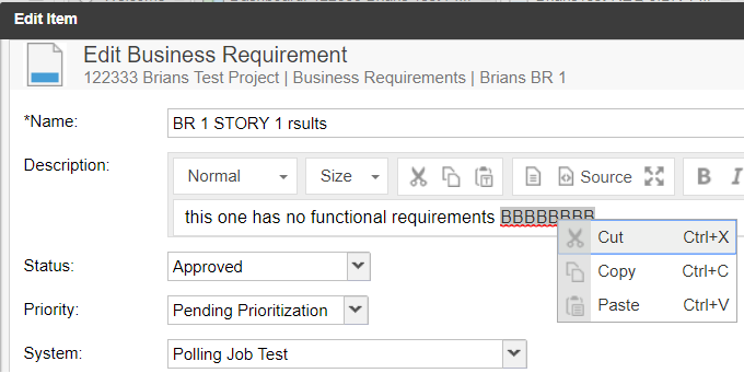 Description box defaults to editor's context menu
