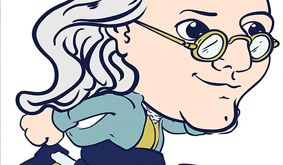 A Ben Franklin sprite from the Money Smart Cache game