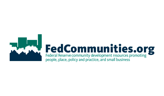 Fed Communities Logo. The text reads 'Federal Reserve community development resources promoting people, lace, policy and practice, adn small business'.