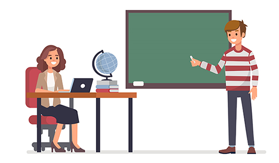 SVG graphic of a teacher and a speaker at a chalkboard