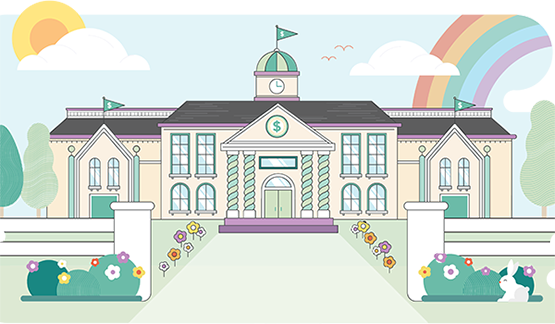 SVG graphic of an idyllic school building in springtime