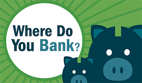 Cropped image of the 'Where do you bank?' infographic