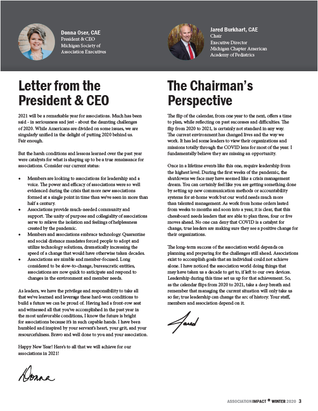 snapshot of Impact page with letters from CEO and board chair
