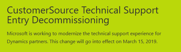 CustomerSource Technical Support Decommissioning