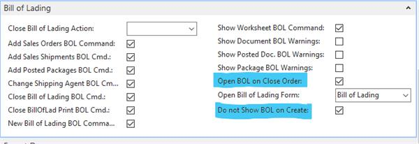 Packing Rule - Bill of Lading, Open BOL on Close Order and Do not show BOL on create are checked so the BOL opens when we close the shipment.