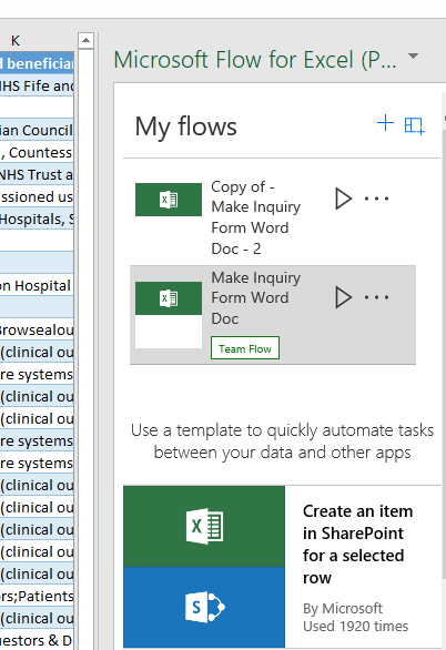 Using Flow from with Excel - For a selected row | Flow Exchange