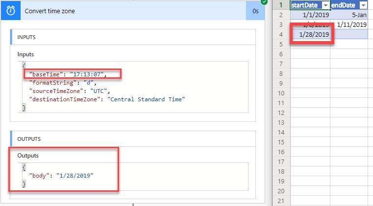 Microsoft Flow Converting Time from UTC | Kansas City