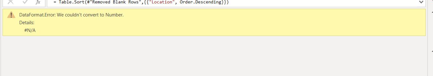Data Format Error] We couldn't convert to Number | Power BI