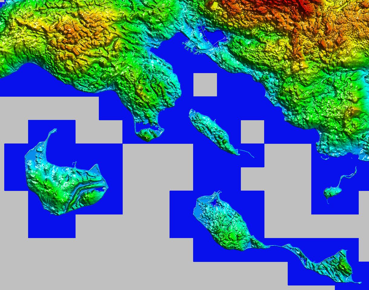 Ocean data shown in blue