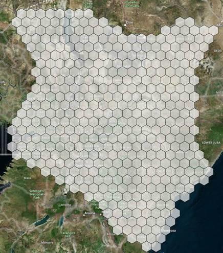 Hexagons over map