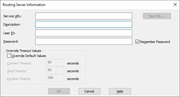 Routing Server Dialog