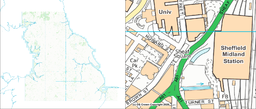 Coverage and detail of VML 1:10,000 scale mapping from Ordnance Survey