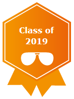An orange profile badge for the class of 2019