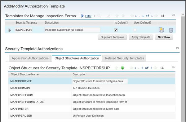 Object Structures for the Manage Inspection Forms application in Maximo 7.6.0.9