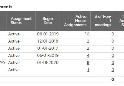 # of 1 on 1 meetings