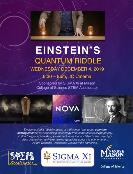 Flyer for Einstein's Quantum Riddle Event 12-4-19
