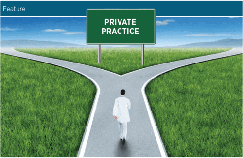 Doctor at a fork in the road with Private Practice sign