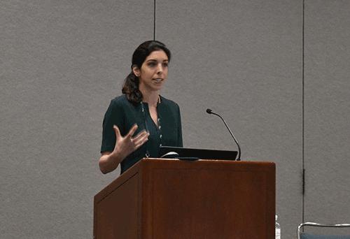 Christine Ghatan, MD, speaking at SIR 2018