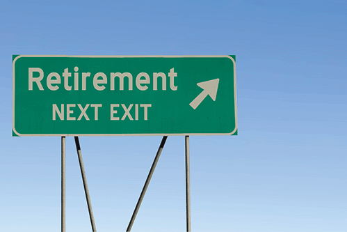 Highway sign, next exit retirement
