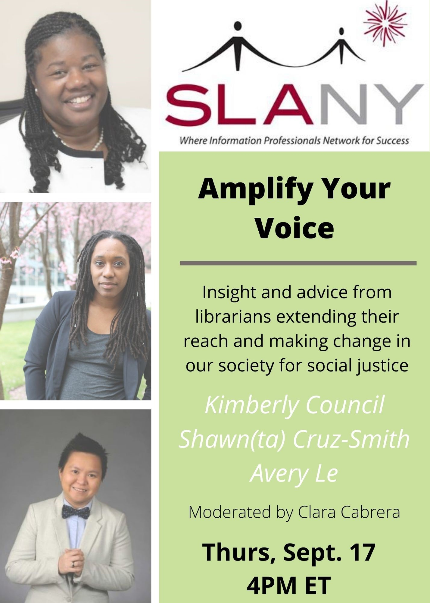 Images of three panelist of Amplify Your Voice event