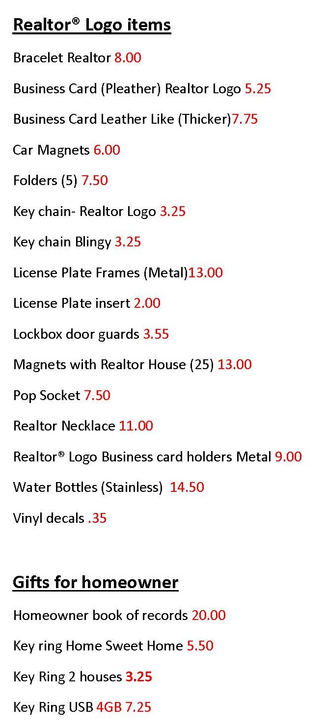 Additional items for purchase