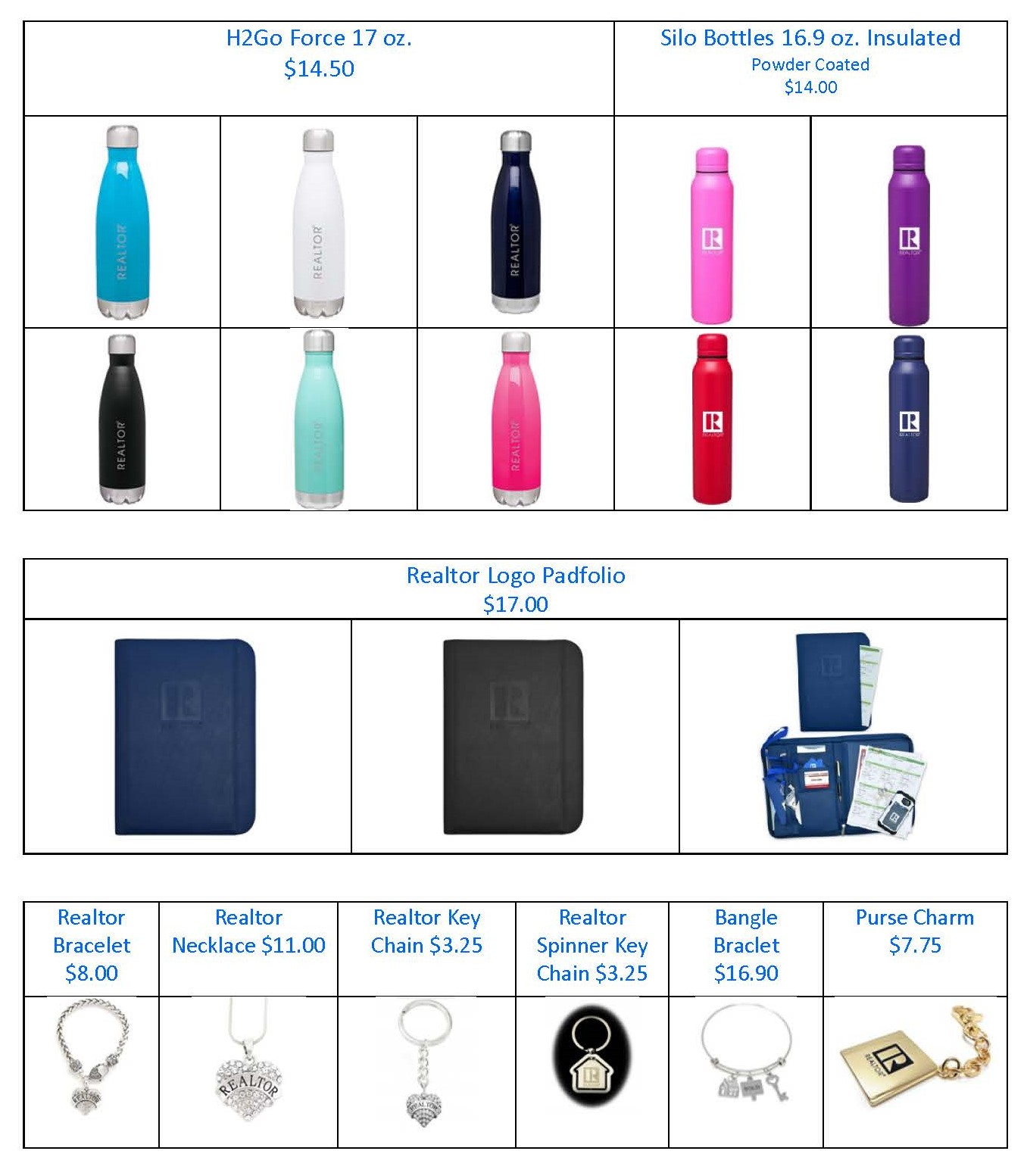 Waterbottles, Padfolios, and Keychains