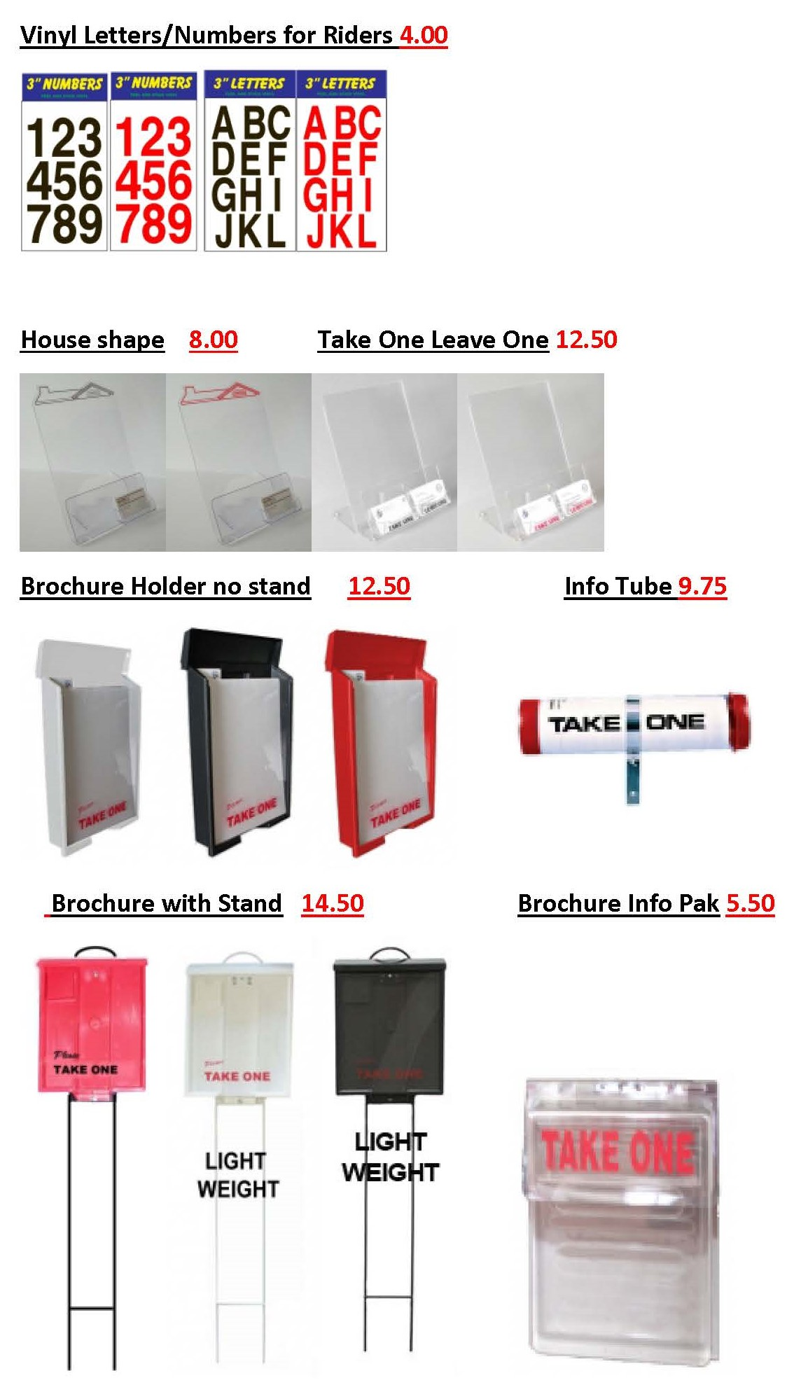 Stickers and brochure holders in multiple sizes and colors