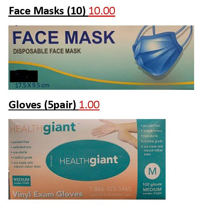Masks and gloves for purchase