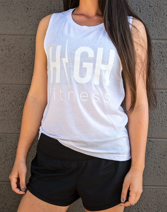 WHITE ON WHITE - FLOWY MUSCLE TANK