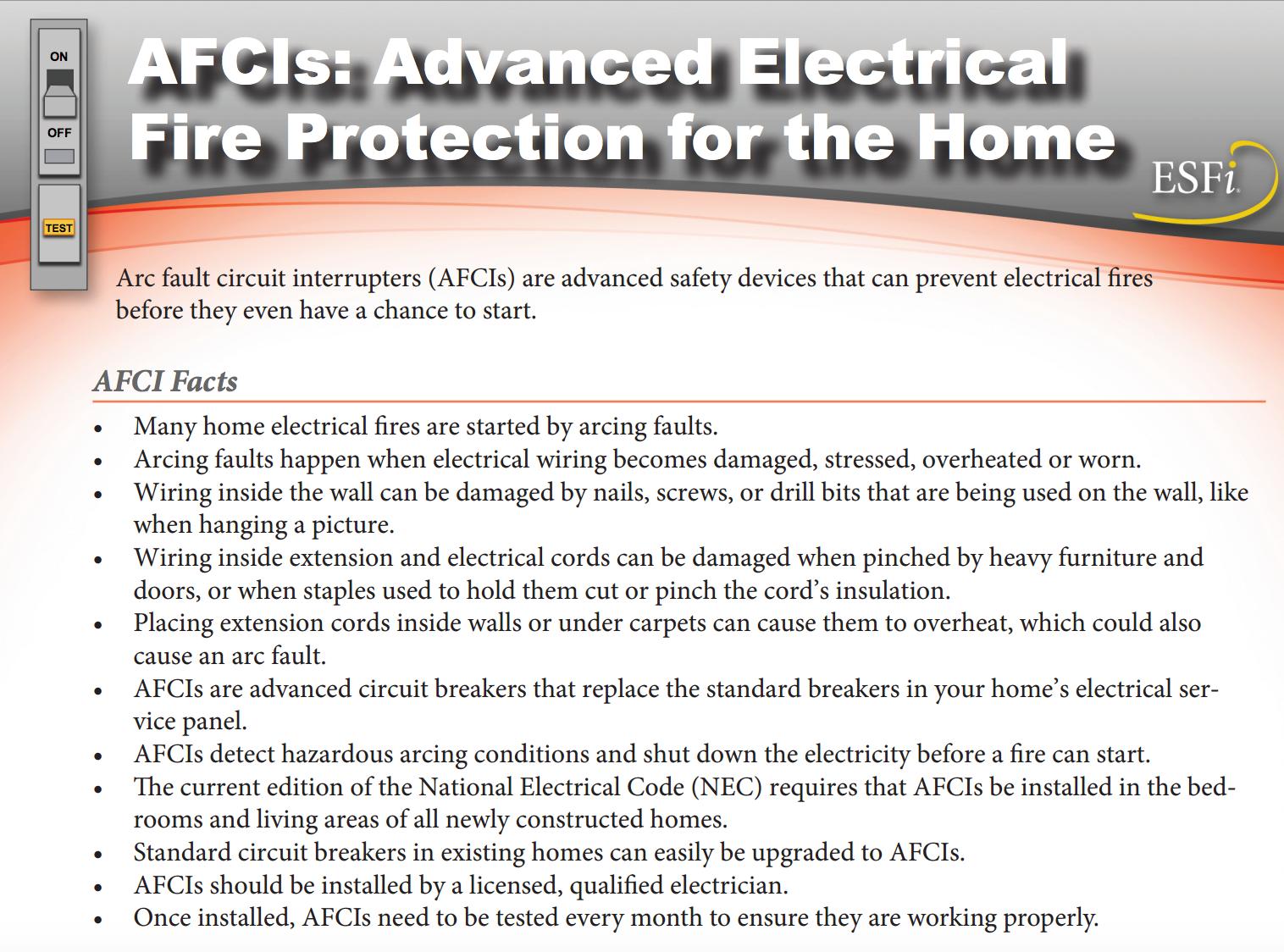 afci - arc fault interrupter facts