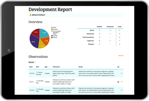 Early childhood development assessment in daycare software