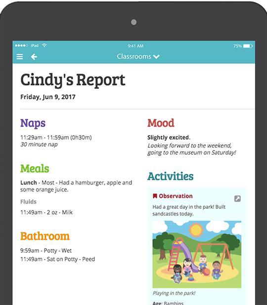 iPad solution for daily childcare report
