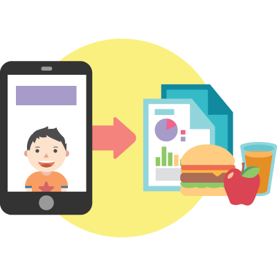 A graphic image of a cell phone with a picture of a little boy in it pointing to two sheets of paper and a hamburger,                                 apple and glass orange juice