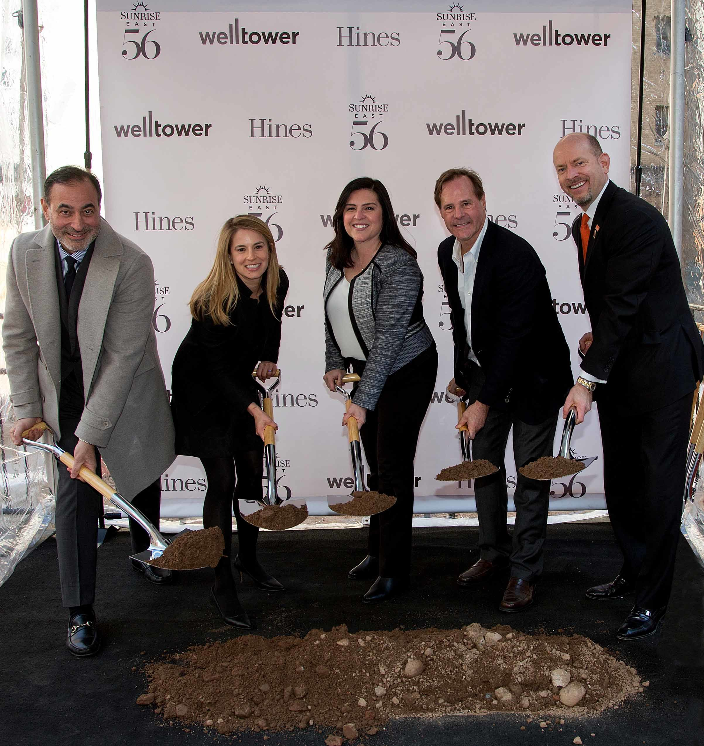 Pictured left to right: Tom DeRosa, CEO and director of Welltower; Sarah Hawkins, Hines managing director; Mercedes Kerr, executive vice president of Welltower; Tommy Craig, Hines senior managing director; and Chris Winkle, CEO of Sunrise Senior Living.