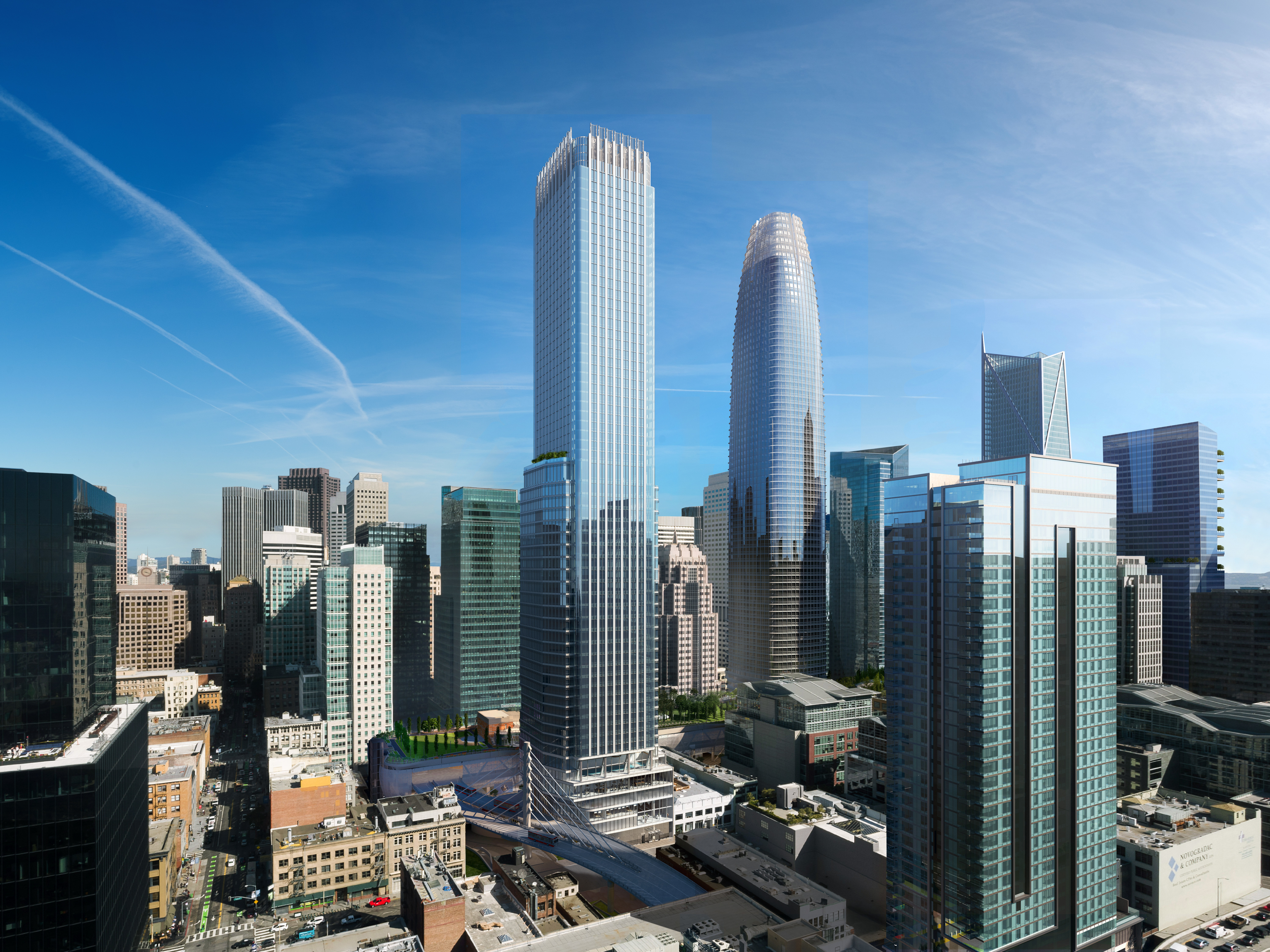 Updated rendering of Transbay Parcel F (left) next to the Salesforce Tower (right), courtesy of Pelli Clark Pelli and SteelBlue