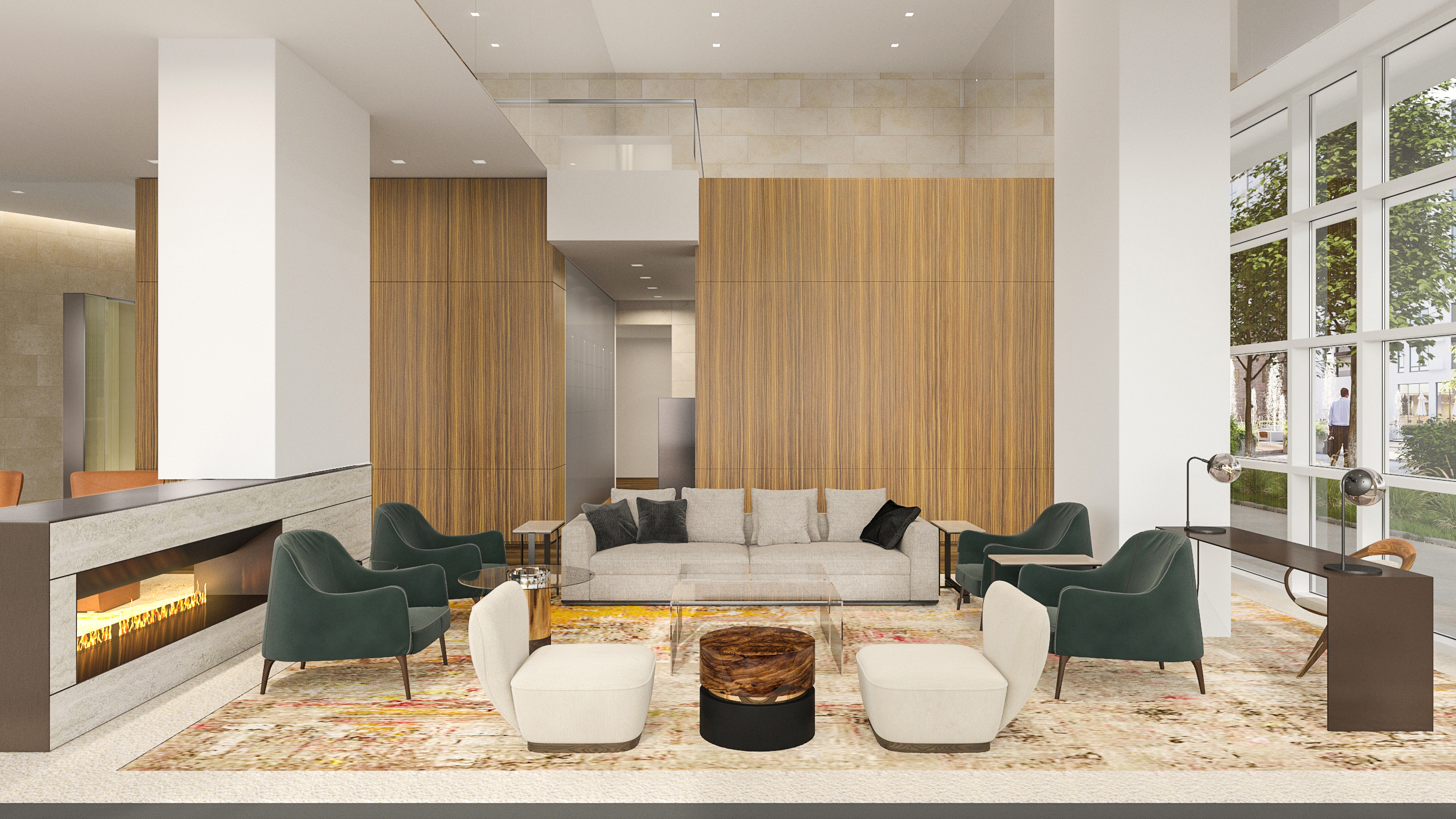 La Colombe d'Or Hotel & Residences Lobby level Fireplace and Seating Area; Rendering Courtesy of Rottet Studio
