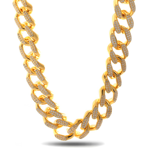 14k gold cz 18mm cuban curb chain nkx09786 1100 1 2 5
