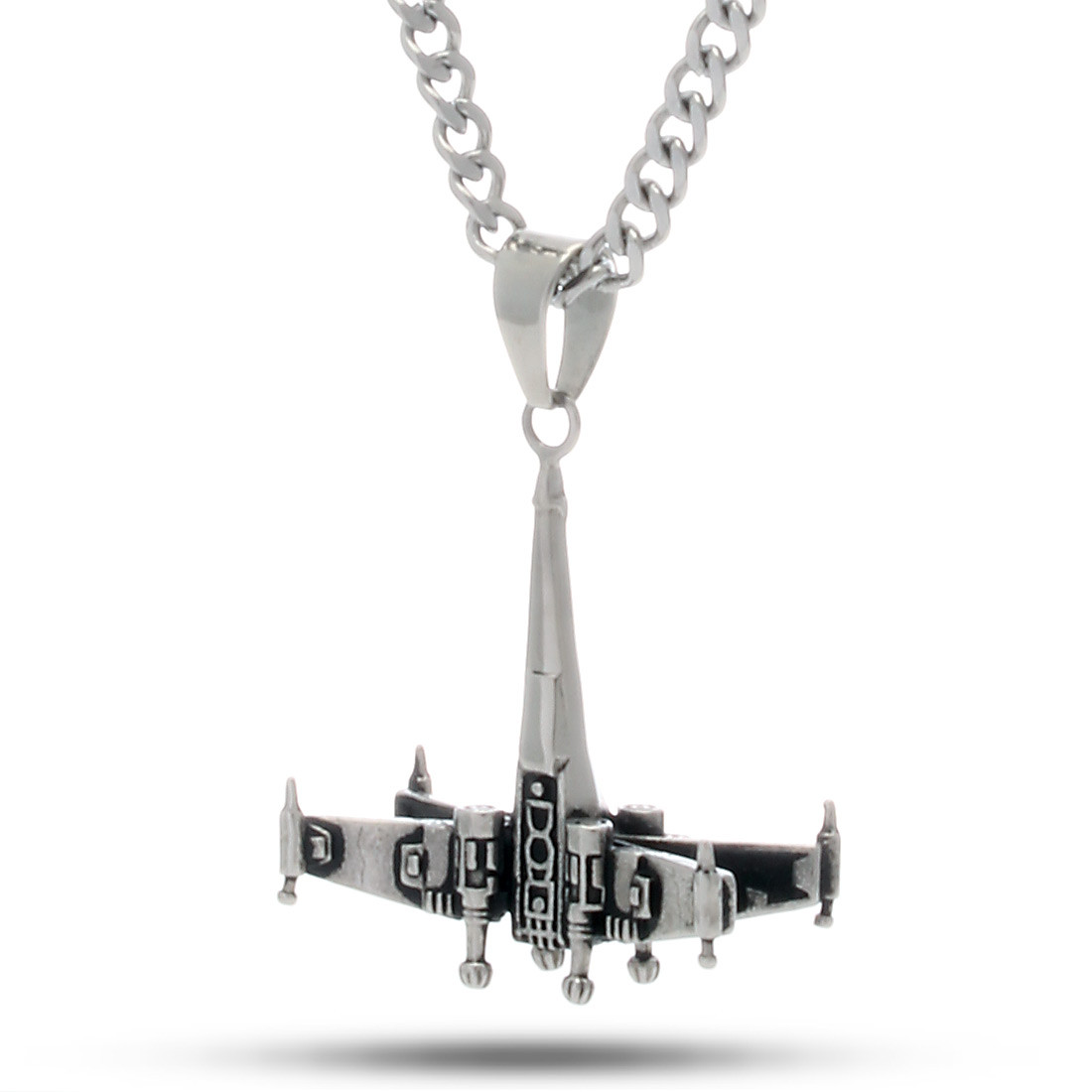 Nkx11345 stainless steel x wing necklace